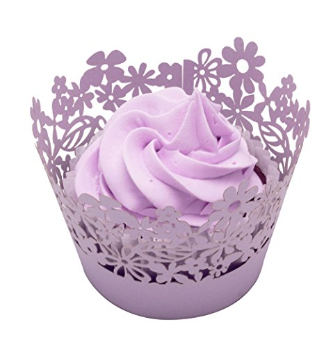 BETOP HOUSE Flower Leaf 24-Piece Cupcake Wrappers, Light Purple