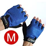 BLUE - Weightlifting gloves womens SIZE MEDIUM. Sport gloves for weight lifters. Gym fitness gloves sizes. Exercise gloves for women with palm weight grip padding. Fingerless gloves for women
