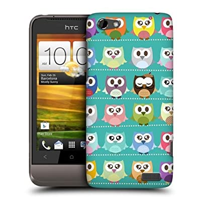 TopFshion Designs Green Pattern Kawaii Owl Protective Snap-on Hard Back Case Cover for HTC One V