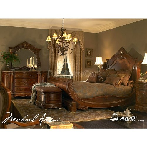 Cortina sleigh bedroom set california king n65000cksl 28 for Bedroom furniture amazon
