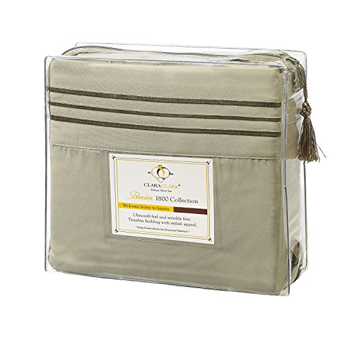 Clara Clark 3-Piece 39 by 80-Inch Premier 1800 Collection Bed Sheet Set, Twin X-Large/Single, Sage Olive Green (Thick Cotton Sheets compare prices)