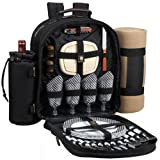 Image of Picnic at Ascot Classic Backpack for 4 with Blanket, Black