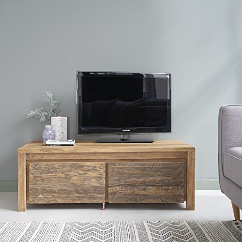 Meuble TV en bois de TECK RECYCLE 120cm - 2 tiroirs