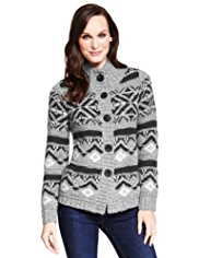 M&S Collection Chunky Knit Fair Isle Cardigan with Wool