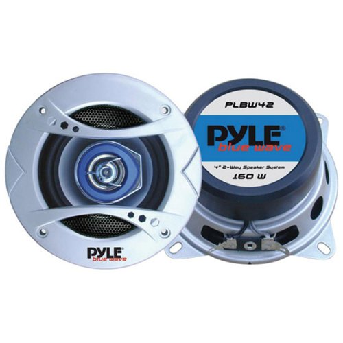 Pyle Plbw42 4-Inch 160 Watt Two-Way Speaker With Blue Led Light
