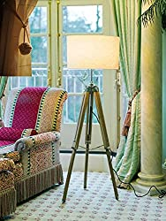 Teak Wood Tripod Floor Lamp Stand with Shade and Bulb