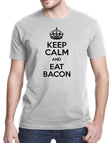 Keep Calm And Eat Bacon T-Shirt, Xl, Gray