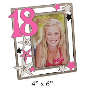 18th Birthday Impressions Silverplated Photo Frame with Stars - Pink - Bebe Hogar
