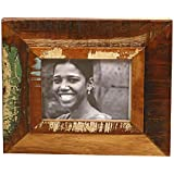 Thar Handicrafts Bangalore Wooden Photo Frame With Lady Smiling Photo And Distressed Finish