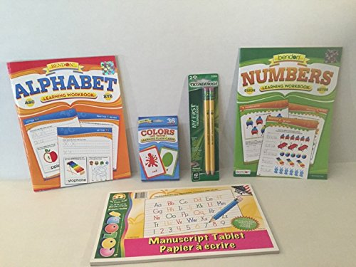 Ready for School Kindergarten Preschool Readiness Preparation Bundle Five Items: One Alphabet Workbook, One Numbers Workbook, One Writing Tablet, One 2pk Ticonderoga Beginner Pencils, One set of Color/Shape Flash Cards