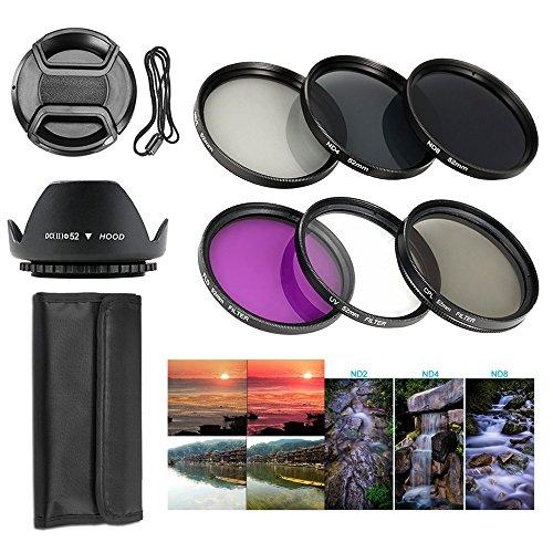 BPS Professionel Filtre pour Objectif Complet 52mm Kit de Filtre (UV CPL FLD) + Ensemble de Filtre ND densité neutre (Filtre ND2 ND4 ND8)