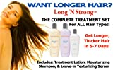 Want Longer Hair? Want Stronger Hair? Grow Hair Fast! Buy Long 'N Strong - Complete Treatment Set (Lotion, shampoo and texturizing serum) - Longer, Thicker Hair! - Split End Repair - Split end treatment!