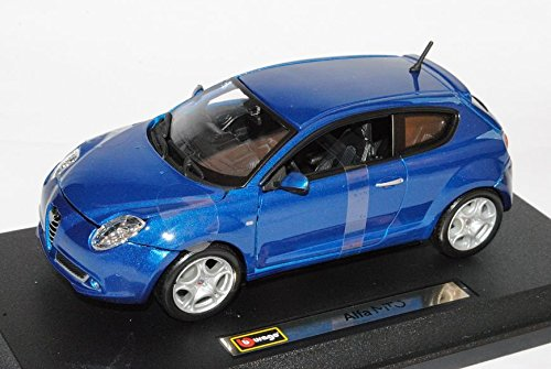 Alfa-Romeo-Mito-Blau-3-Trer-Ab-2008-124-Bburago-Modell-Auto-mit-individiuellem-Wunschkennzeichen