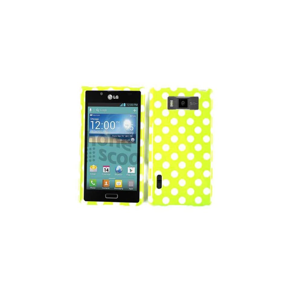 ACCESSORY HARD SNAP ON CASE COVER FOR LG SPLENDOR / VENICE US 730 WHITE DOTS ON YELLOW