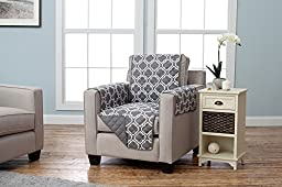 Adalyn Collection Deluxe Reversible Quilted Furniture Protector. Beautiful Print on One Side / Solid Color on the Other for Two Fresh Looks. By Home Fashion Designs. (Chair, Charcoal)