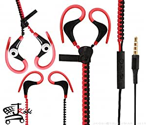 Dual Color Trendy Zipper Sports In-Ear Headset Earphones With Mic Compatible For Motorola DROID Maxx 2 -Red With Black