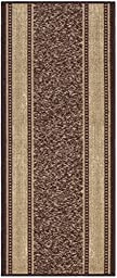 Custom Size Brown Gold Beige Bordered Rubber Backed Non-Slip Hallway Stair Runner Rug Carpet 22 inch Wide Choose Your Length 22in X 6ft