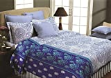 Maissen Belladonna Paisely Polycotton Double Bedsheet with 2 Pillow Covers - Blue