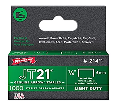 Arrow Fastener 214 Genuine JT21/T27 1/4-Inch Staples, 1,000-Staples