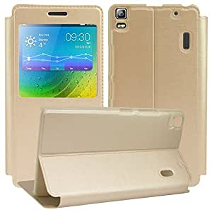DMG PU Leather Full Protection Stand View Flip Cover Case for Lenovo K3 Note (Gold)