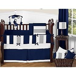 Sweet Jojo Designs Modern Navy Blue and Gray Stripe Print Boys Baby Bedding 9 Piece Crib Set with Bumper