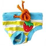 Mascotas Pantalones Fisiol�gicos - BADALink Perro Pantalones Fisiol�gicos del Perro Ropa Femenina Fisiol�gico Menstrual Pantalones del Pa�al, dise�o Azul y Amarillas Rayas