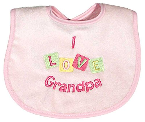 Raindrops I Love Grandpa Embroidered Bib, Pink