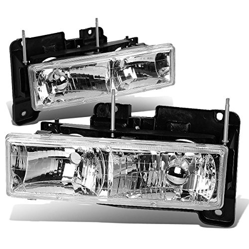 Chevy/GMC C/K-Series GMT400 Pair of Glass Clear Lens Headlights (97 Chevy Tahoe Glass Headlights compare prices)