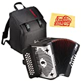 Hohner A-4800 Panther G/C/F 3-Row Diatonic Accordion Bundle with Padded Gig Bag and Polishing Cloth - Black