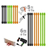 18 Pack Gear Rubber Twist Ties, Hoowvii Reusable Ties (3 Inch and 6 Inch) Cable Ties Cord Organizer Cord Management for Household,Students DIYers,Office,Travel -Assorted Colors Black,Green,Orange