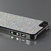 ZuGadgets Silver /High Quality iPhone 5 5G Shimmering Sequined Clear Side Plastic Protective Skin Case Cover Shell (7997-4)