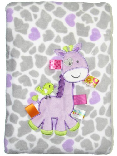 Taggies Giraffe Baby Blanket Gray and Purple - 1