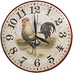Primitive Country Rustic Rooster Clock