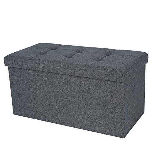 Songmics-76-x-38-x-38-cm-Faltbarer-Sitzhocker-belastbar-bis-300-kg-Fubank-Sitzbank-Aufbewahrungsbox-leinen-dunkelgrau-LSF47K