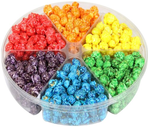 Gourmet Rainbow Candy Coated Popcorn Gift Tray 6-section (Purple Popcorn Seed compare prices)