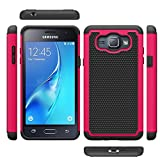 J1 2016 Case, Galaxy Amp 2 Case, Galaxy Express 3 Case, MCUK [Shock Absorption] Hybrid Dual Layer Armor Defender Protective Case With Tempered Glass Screen Protector (Rose)