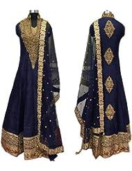 Caffoy Cloth Company Women's Dark Blue Color Bangalori Silk Designer Embroidered New Arrive Anarkali Salwar Suit...
