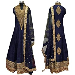 Caffoy Cloth Company Womens Dark Blue Color Bangalori Silk Designer Embroidered New Arrive Anarkali Salwar Suit For Wedding.