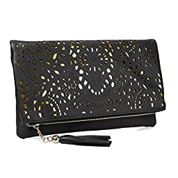 BMC Womens Jet Black Perforated Cut Out Pattern Gold Accent Background Foldover Pouch Fashion Clutch Handbag