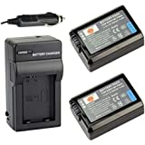 DSTE® 2x NP-FW50 Battery + DC107 Travel and Car Charger Adapter for Sony NEX-7 NEX-5N NEX-F3 SLT-A37 NEX5R NRX6 NEX-3 NEX-3A NEX-3D NEX-3DW NEX-3K NEX-3KS NEX-5 NEX-5A NEX-5C NEX-5D NEX-5DB NEX-5HB NEX-5K NEX-5KS A7 Digital Camera