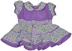 Be BeBo Baby Girl's cotton Regular Fit Dress (581, Lavender,0-3 months)