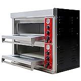Pizzaofen Edelstahl 2 Kammern 400 V für die Gastronomie Ober-