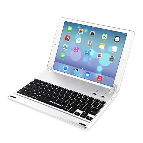 TeckNet® X360 Ultra-Thin Apple iPad Air Bluetooth Keyboard (US Keyboard Layout) Case Cover with Built-in Stand Groove for Apple iPad Air With 110 Degree Swivel Rotating - Silver primary