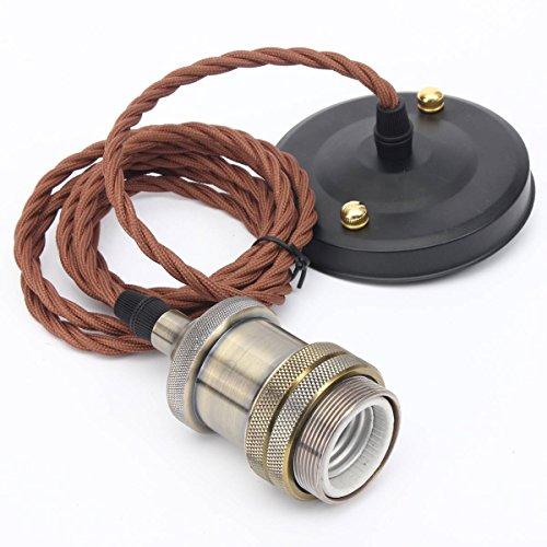 KINGSO E26/ E27 Modern Copper Effect Ceiling Hanging Textile Cord Lamp Holder Pendant Light Fitting Kit(Bronze Color) (Led Pendant Light Kit compare prices)