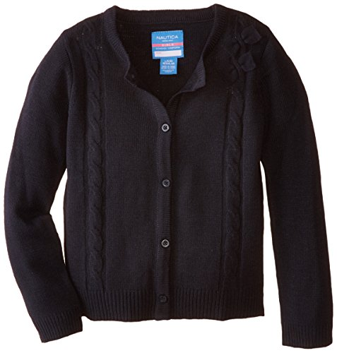 Nautica Little Girls' Cardigan with Bow Cables, Su Navy, Medium