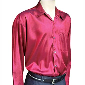 Men 39 s red long sleeve thai silk hawaiian shirt xxxl at for Mens silk shirts amazon