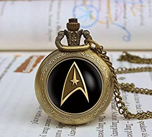 Gift Boxed Star Trek Logo Antique Bronze Engraved Quartz Pocket Watch/Necklace Watch