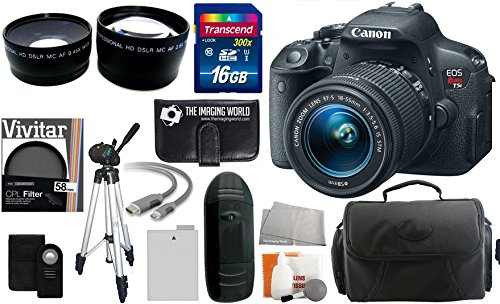 Canon Eos Rebel T5I Digital Camera Slr Kit With Canon Ef-S 18-55Mm Is Ii Stm Lens + 16Gb Card And Reader + Wide Angle And Telephoto Lenses + Tripod + Battery + Filter + Accessory Kit