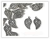 15 x Antique Silver Plated FILIGREE LEAF Charms Jump rings included for attachments Universal use for Jewellery Card Making Ref10A72