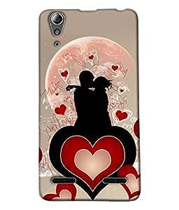 Fuson Heart Love Couple Pattern Back Case Cover for LENOVO A6000 - D3991